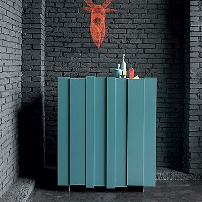 Unique design, light blue painting 'Tom' sideboard. Exclusive shape and bright colour, beautiful design. My italian Living