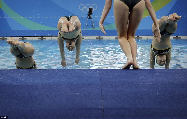 The Australian synchronised swimming team practise their routine at the Maria Lenk Aquatic Centre, which was built for the 2007 Pan American Games and renovated for…