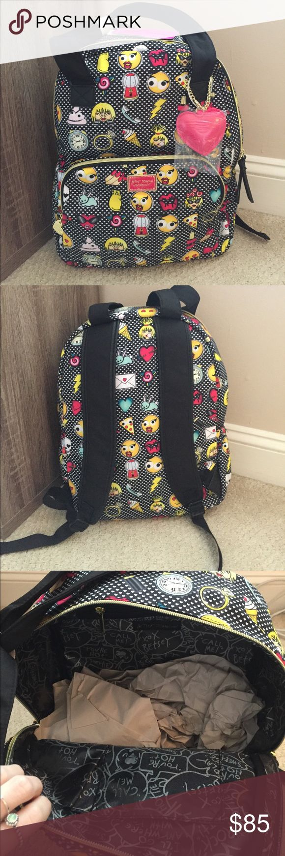 BETSEY JOHNSON New York Emoji 2 Backpack NWT! Doubles as a tote and a backpack! Perfect gift! Hard to find! Betsey Johnson Bags Backpacks