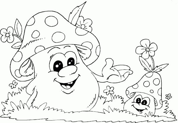 spring mushrooms coloring page - Coloring.com