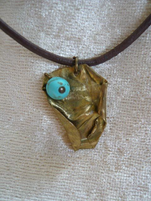 Handmade Pendant Necklace of Handcrafted Metal with Turquoise Stone (Leather Strap). by Kosmisis on Etsy