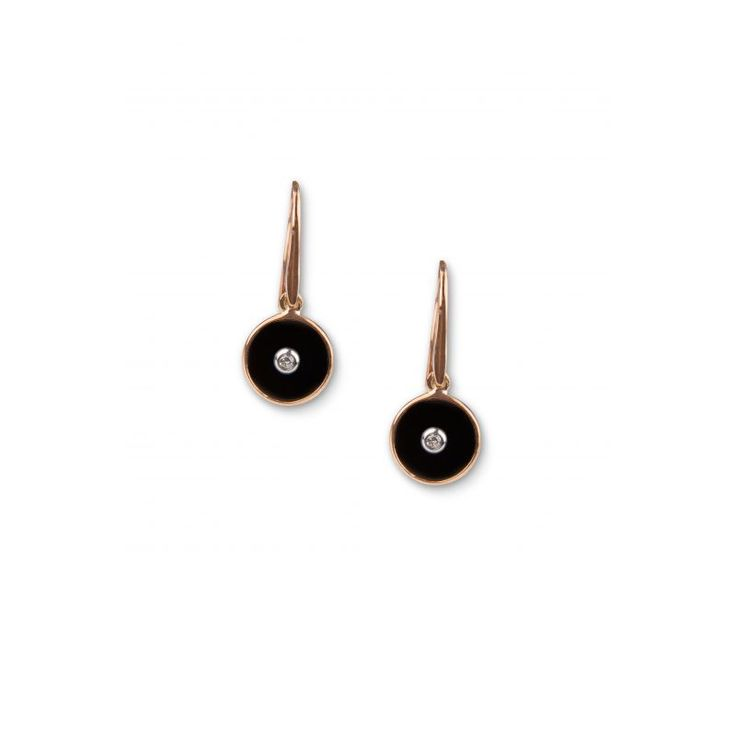 9ct Rose Gold Onyx And Diamond Round Drop Earrings