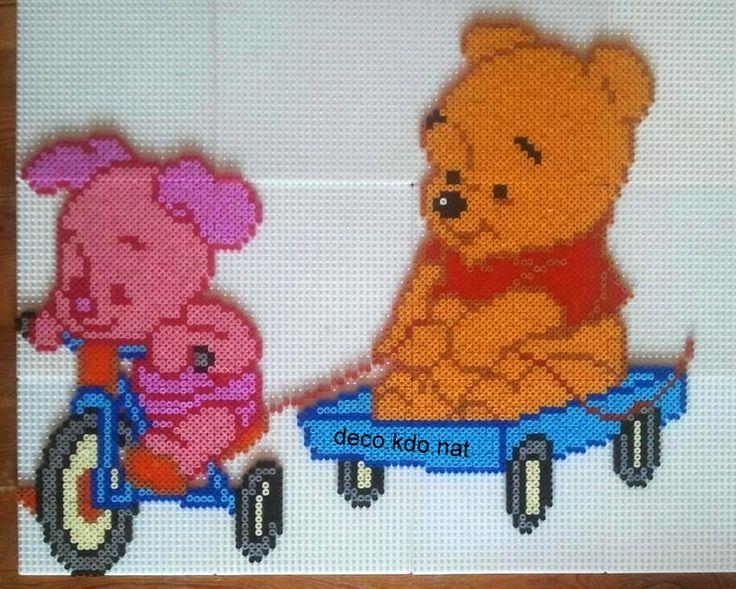 Piglet and Winnie hama perler beads by Deco.Kdo.Nat