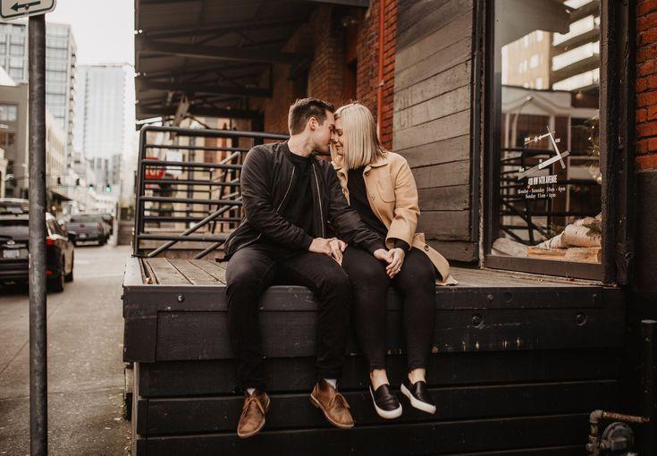 Urban + stylish couple session, Portland Oregon, city couple photography