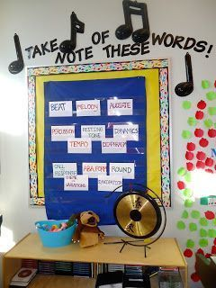 The Sharp Music Teacher: lessons, book recommendations, and more! - music word wall bulletin board