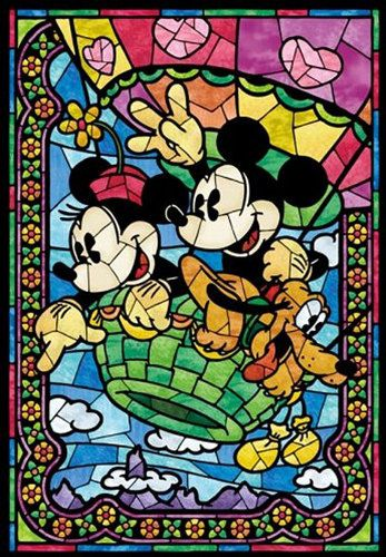 Counted Cross Stitch Pattern, Disney, Mickey Mouse, Minnie Mouse, Stained Glass, Instant PDF Download