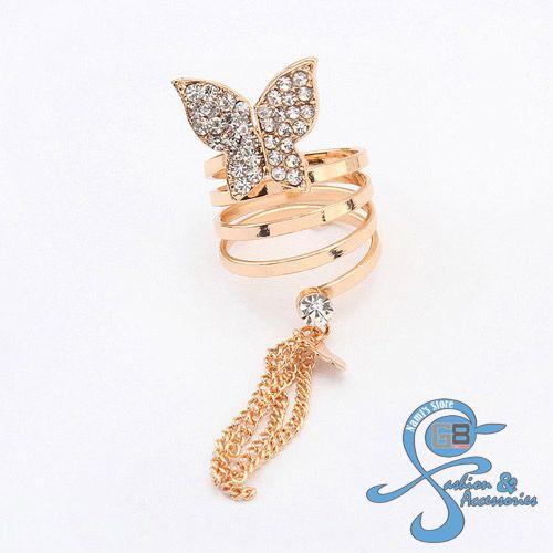 Cincin Korea Import Kupu-Kupu Diamond. Bahan: Alloy + Rhinestone. Ukuran: 1.8cm