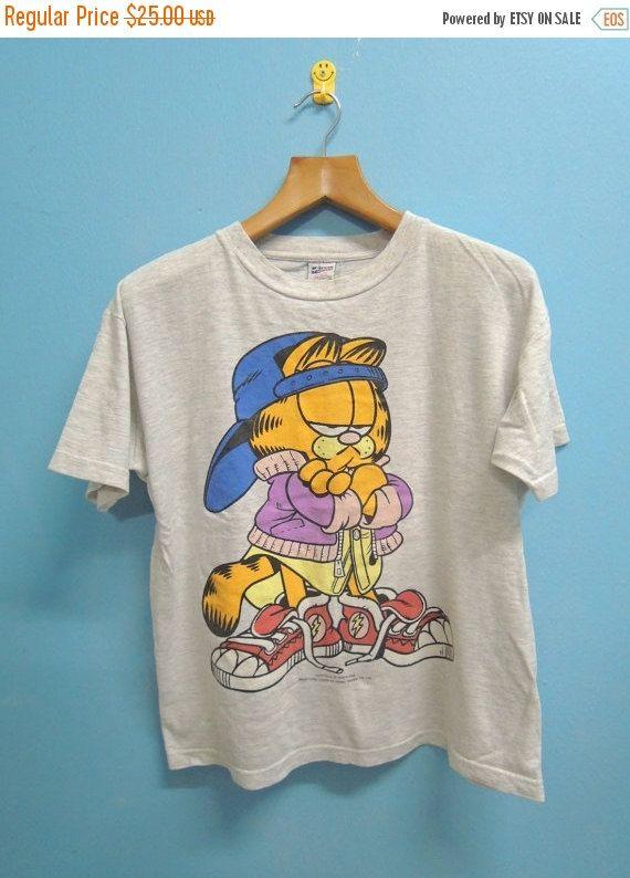 Discount 15% 90's Vintage Garfield Cat Big Logo Shirt Hip Hop Street Wear Cartoon T Shirt Top Tee Size S/S
