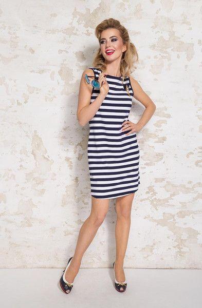 Marynarska sukienka Matrisa - LATTORE - Sukienki dla puszystych