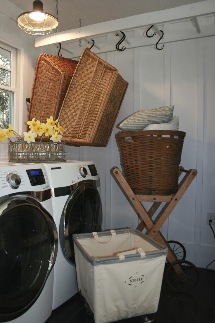Laundry room ladder w/ S hooks; The Polished Pebble