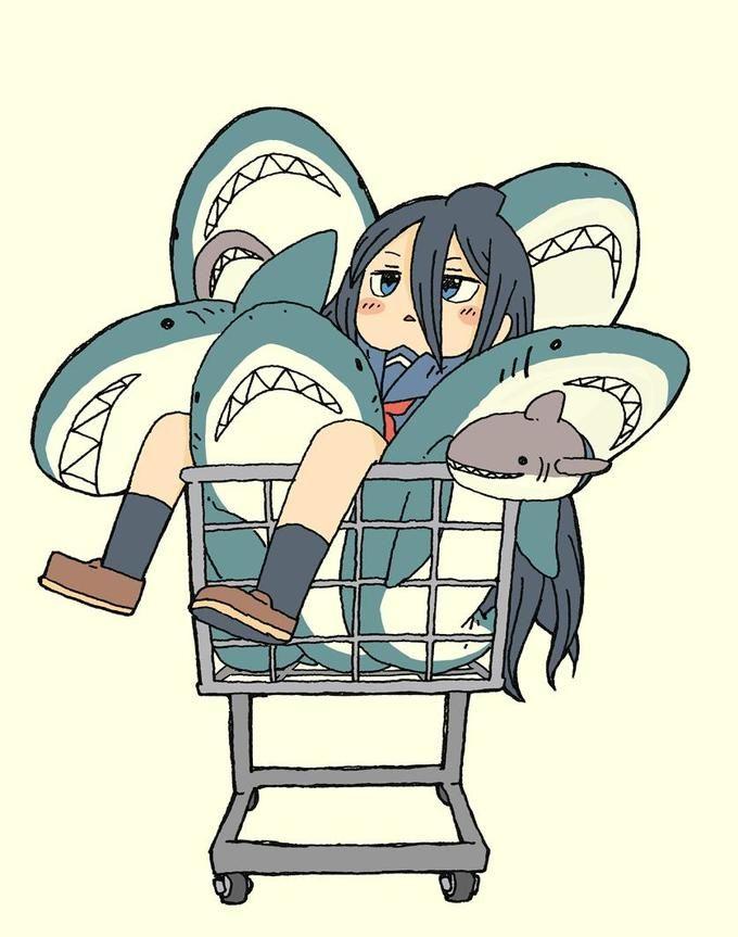 Shark Cart Girl Body Pillow Anime Shark Drawing Shark Art