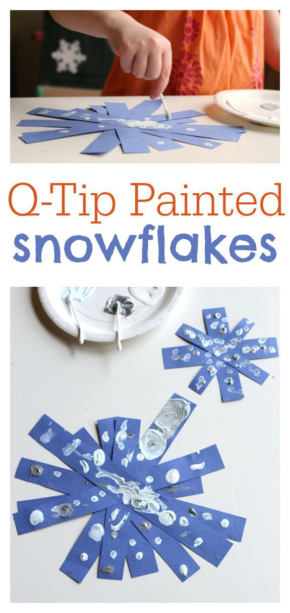 Q-tip Painted Snowflake Crafts