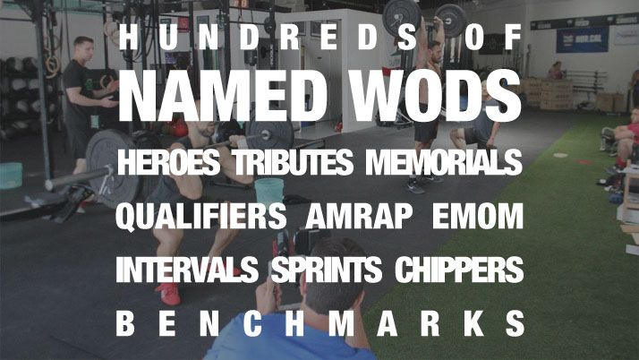 600+ named benchmark CrossFit WODs (ie: Hero WODs, Tributes, Qualifiers, The Girls, etc.) in one WOD database. Find by name, movements, equipment.