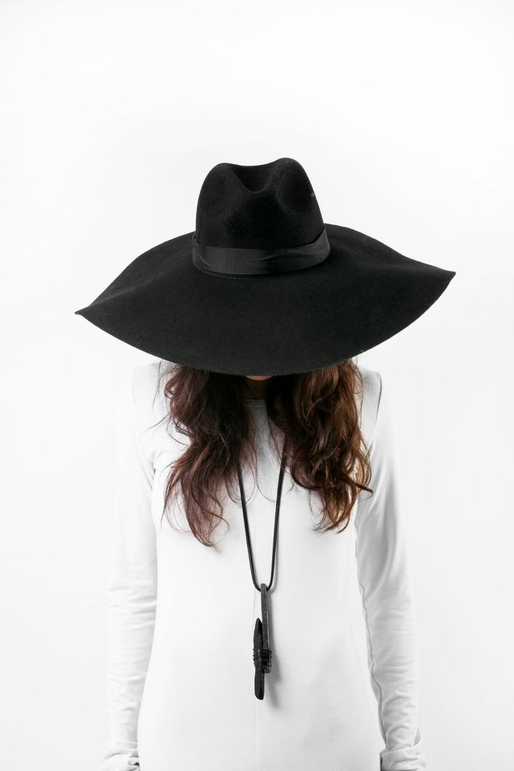 Willow Hat, black wool wide-brimmed hat. Because on Wednesdays we wear black // Shades of Silence, Sisters of The Black Moon
