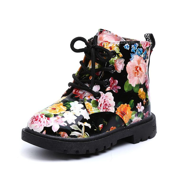 Kids girls boots Winter shoes Floral Baby Child Army Style Martin Boot Warm Shoes Fashion drop ship