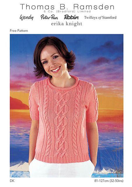 Free pattern. Ravelry: DK Long or Short Sleeved Tops pattern by Thomas B. Ramsden & Co
