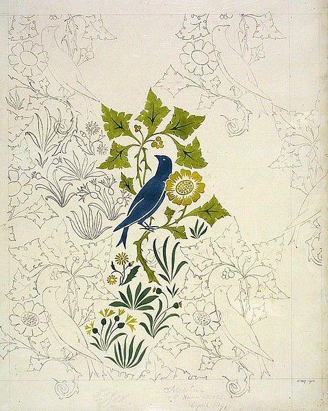 Wallpaper or textile design, english, 1891, voysey