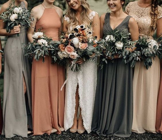 mix match bridesmaid fall wedding dresses #weddingdress
