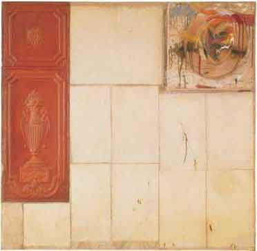Robert Rauschenberg - 1956, Interior. Combine (olio, matita, carta, legno, cappello, chiodi e stagno pressato) cm 122.56 x 117.79 x 19.05. Sonnabend Collection, New York