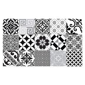 Beija Flor - Tapis de Sol en Vinyle Electric - Noir & Blanc - 70x120cm  http://www.homelisty.com/tapis-carreaux-de-ciment/