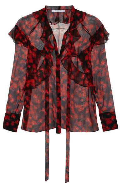 Black, grape and tonal-red silk-chiffon Ruffled trims Button fastenings along front, ties at neck 100% silk Dry clean Made in ItalyAs seen in The EDIT magazine