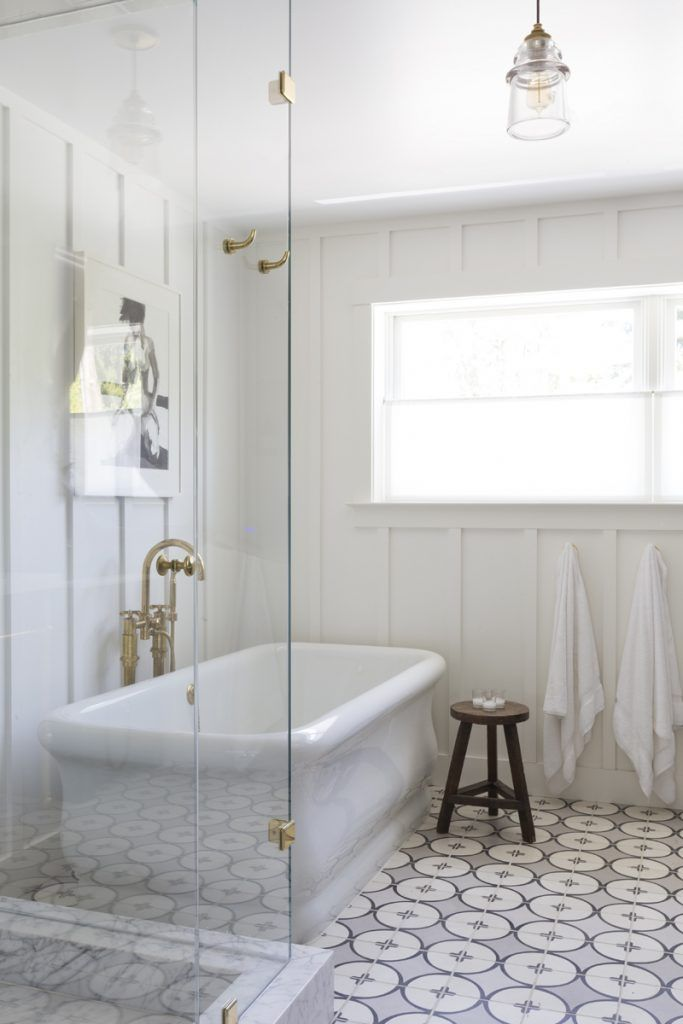 Interior Design by Holly Hollenbeck of HSH Interiors | Photography by David Duncan Livingston | Modern Sanctuary | A 1930s Church is Transformed Into A Chic Family Home | Bathroom | Traditional Bathroom | Lighting | Bathroom Fixtures | Flooring