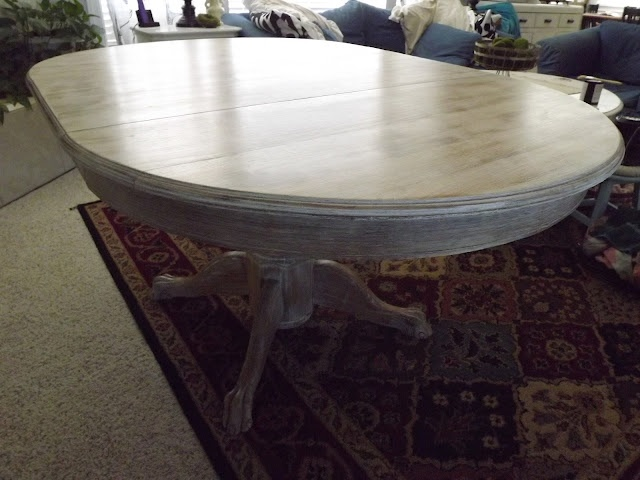 White Wash Wood Dining Table: TheSmithGarage: Pickled Oak Pedestal Table