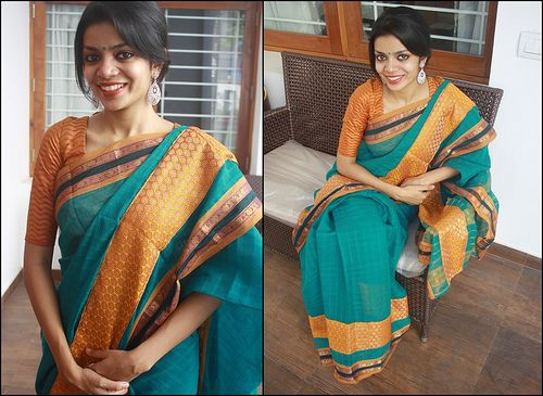 41 | Rs. 1700 blue-green cotton saree with a semi brocade pi… | Flickr