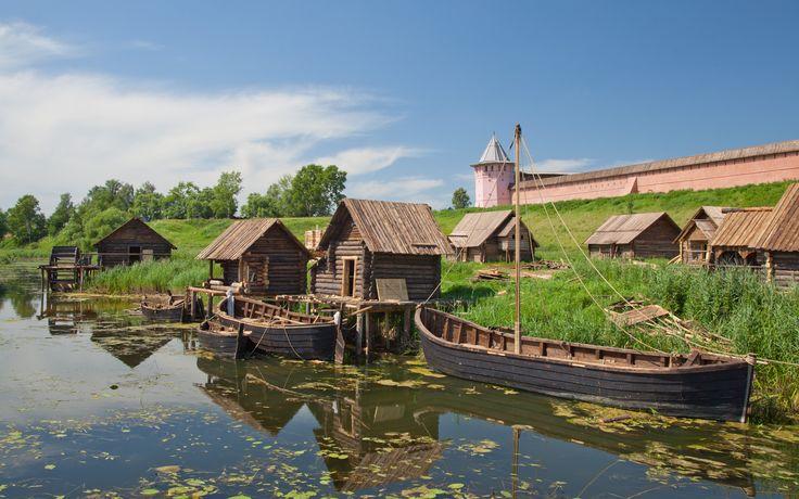 3840x2400 Обои суздаль, владимирская область, река, каменка, кремль, башня, город-заповедник, лодки, деревянные, дома