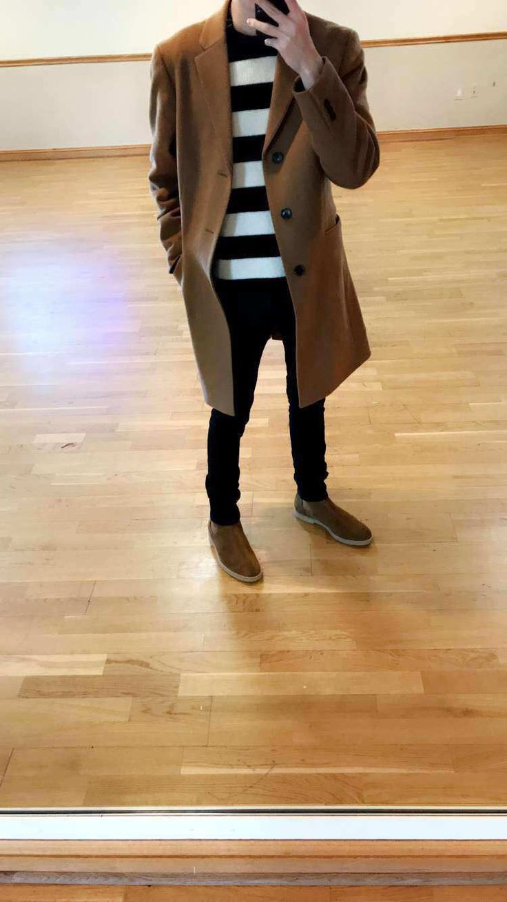 Uniqlo coat, Rag & Bone striped sweater, Nudie jeans, Common Projects shoes
