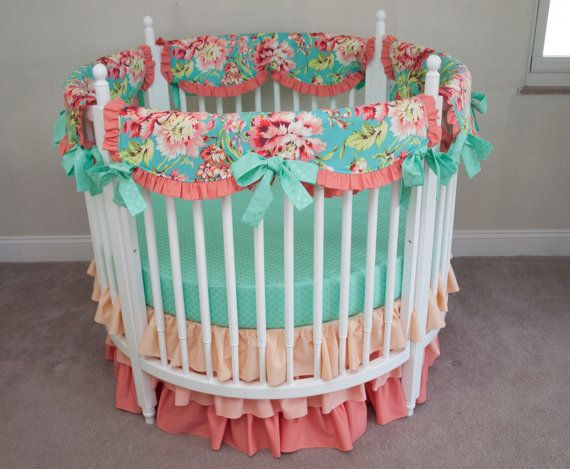 Floral Aqua, Teal, and Coral  Baby Girl Round Crib Cot  Bedding with Ombre Skirt made with Love Bliss Bouquet Fabric