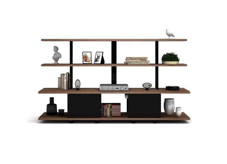 Double-sided wooden TV cabinet with shelves KARNAVAL by Koleksiyon design Faruk Malhan