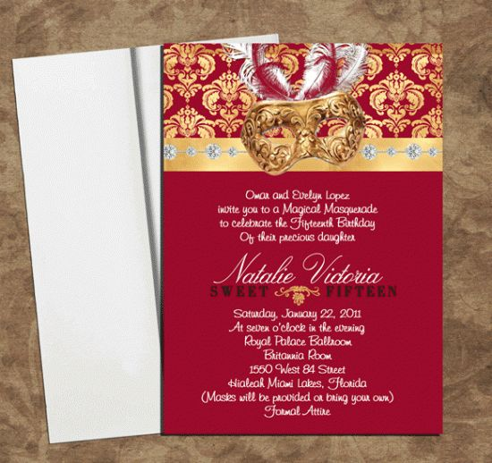 quinceanera invitations masquerade