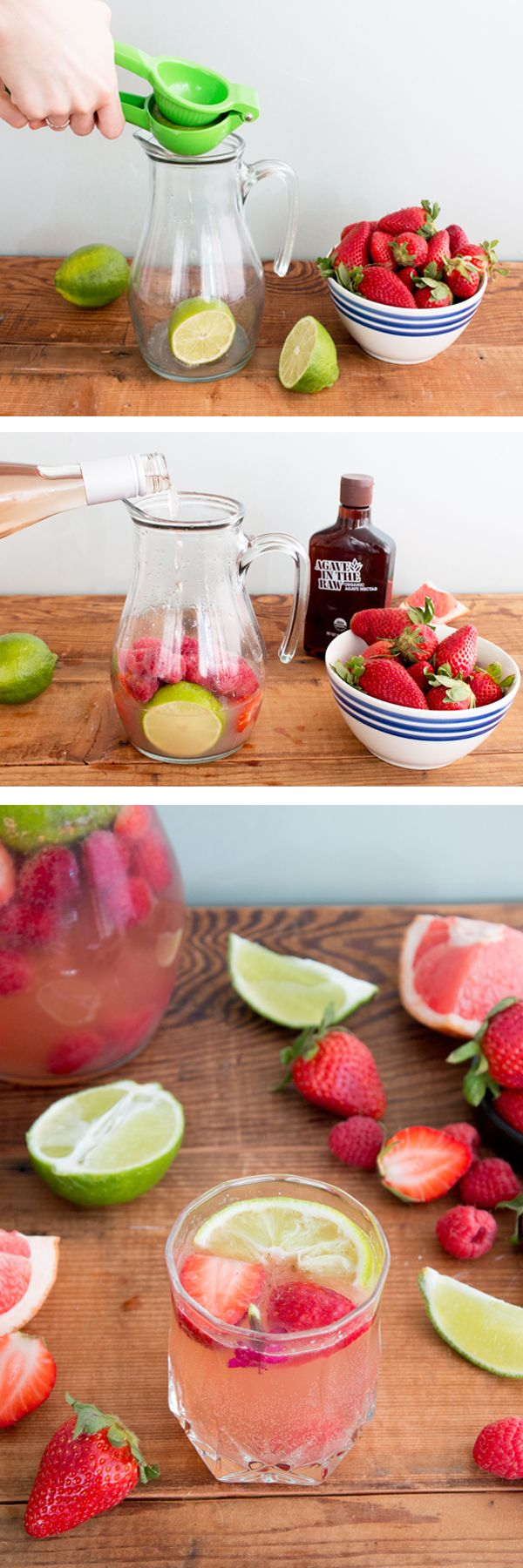 """Say """"yes way"""" to a glass of this Sparkling Rosé Sangria made with Agave In The Raw®. Vibrant summer fruits (grapefruit, strawberries, raspberries and lime) mingle with tequila and rosé wine for a light, refreshing cocktail. Be sure to add this sangria recipe to your Cinco de Mayo and summer party menus for a drink all adult guests will enjoy!"""