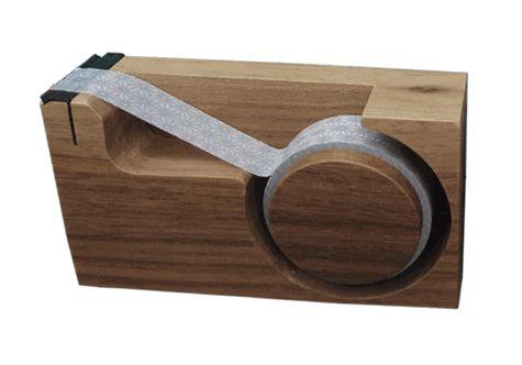 walnut wood tape cutter.