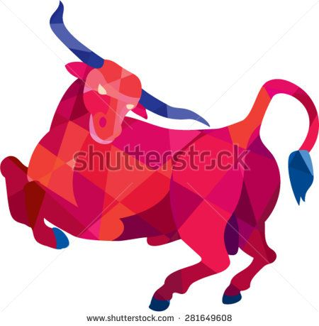 Low polygon style illustration of a Texas longhorn bull prancing viewed from the side set on isolated white background.