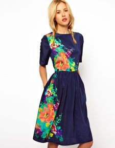 ASOS Midi Dress In Floral Print With Buttoned Waist - love the dark blue and bright colors!! :)