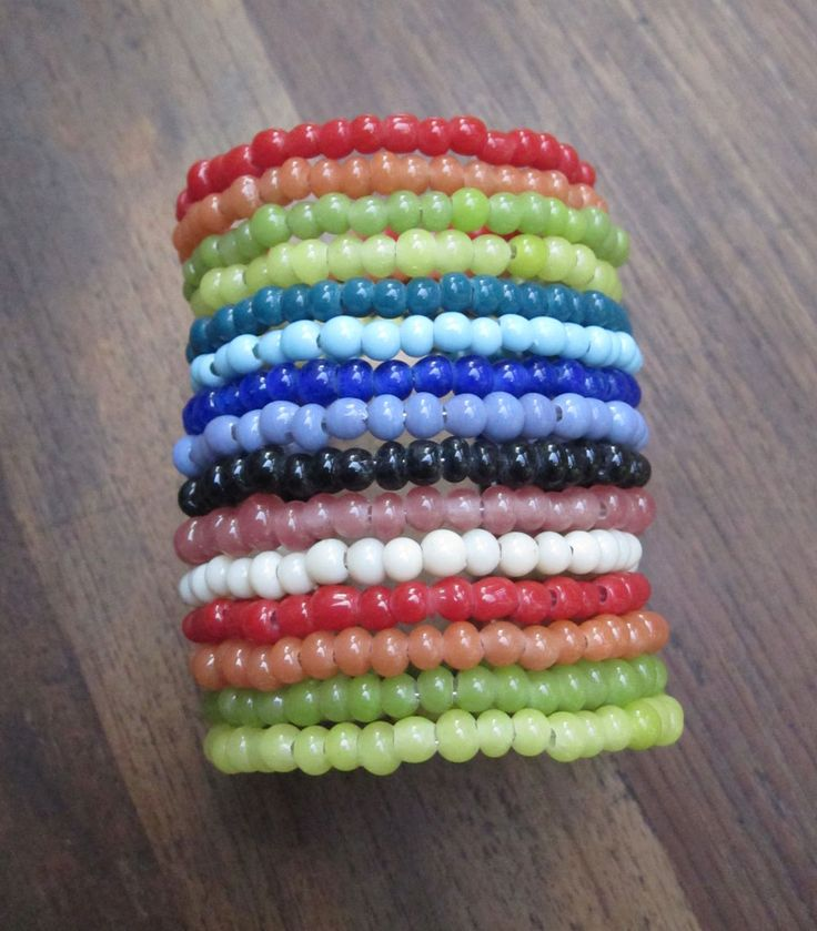 Rainbow beaded long bracelet.
