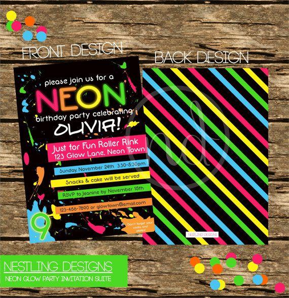 Personalized Neon / Glow/ 80's Theme Invitation DIY Printable PDF on Etsy, $16.55 CAD