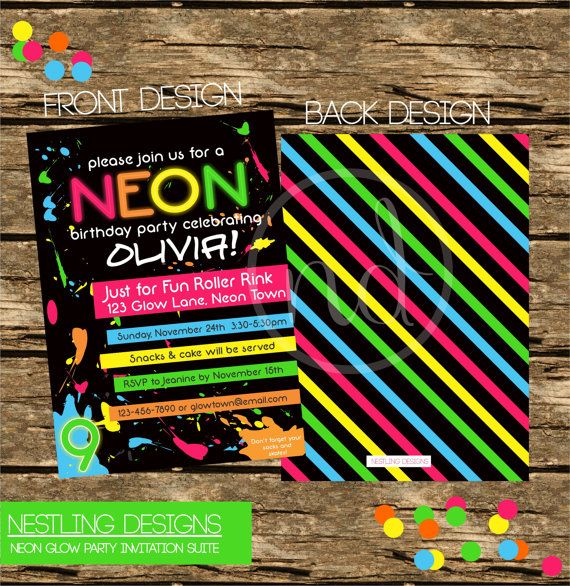 Personalized Neon / Glow/ 80's Theme Invitation DIY Printable PDF on Etsy, $16.55 CAD