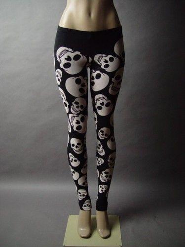 Black White Skull Design Graphic Punk Rock & Roll Emo Goth Skinny Pant Legging S