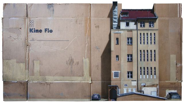 Urban Cityscapes Spray Painted on Cardboard Panels by EVOL