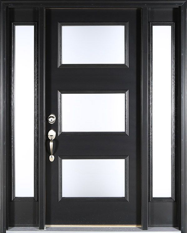 Contemporary black front door: Clopay ENERGY STAR smooth fiberglass entry door with Clarion frosted glass windows and sidelights, optional nickel handle set. www.clopaydoor.com.