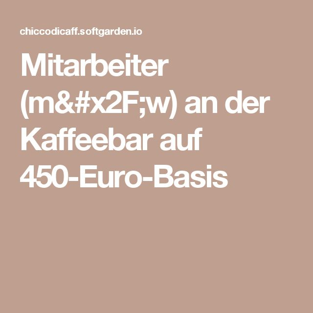 Mitarbeiter (m/w) an der Kaffeebar auf 450-Euro-Basis