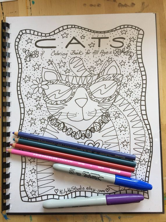 Items Similar To COLORING BOOK Of Cats Whimsical Kitty Art Color For All Ages Adult Coloring Pages On Etsy