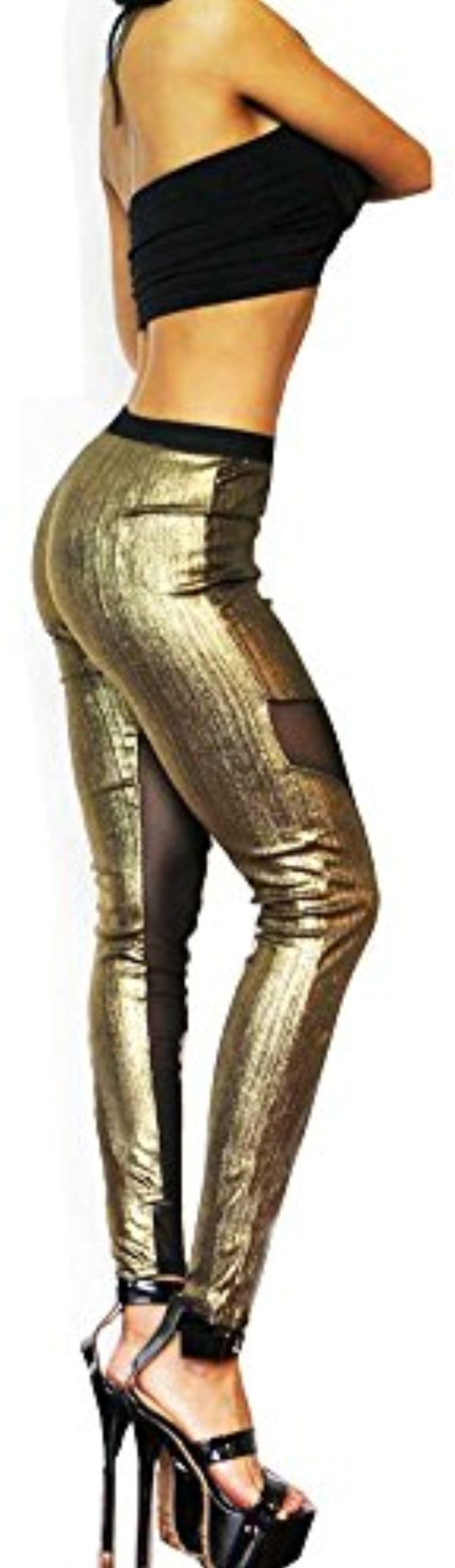 Shiny Gold Silver Black Mesh Transparent Leggings Tights (One Size (S/M), Gold) - Brought to you by Avarsha.com