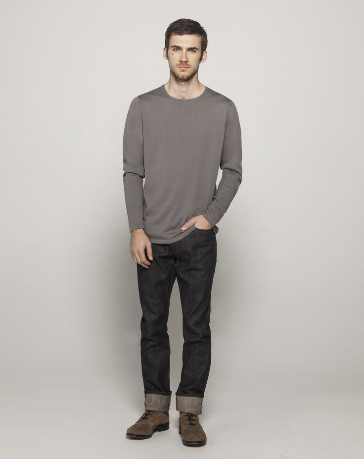 Fully Fashioned High Twist Cotton L/S Crew (Mid Grey)  Premium Selvedge Straight Leg (24 Dip Dark Indigo - Raw)