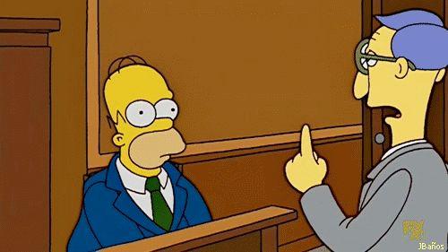 Homer Simpson no controla el temperamento - Abogado: Señor Simpson, su hijo alega que tiene un problema de manejo de la ira. Homer: ¿Por qué, ¡cómo te atreves! Uh, lo siento, juez. Eso es un lapso raro en mi porte normalmente calma. - El abogado de Burns lleva a Homer los papeles de la emancipación de Bart. El asunto termina en la corte, donde Homer pierde en repetidamente el temperamento.