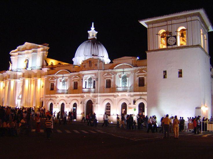 Cathedral and Torre del Reloj in Popayan, Cauca, Colombia