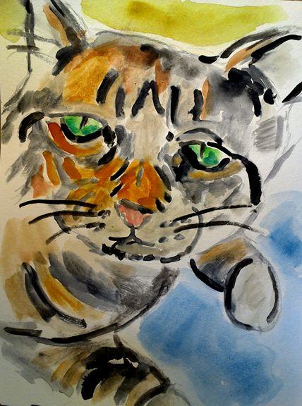Watercolor of Rocket the Cat  2017